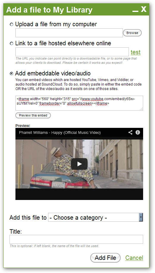 Add new Embeddable Media File