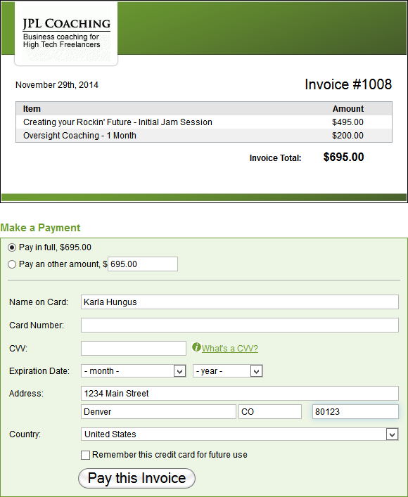 Pay invoice online