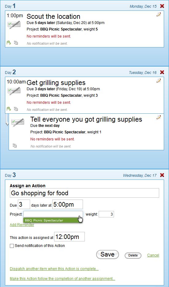 Action assignments in your courses can be freestanding or part of a project.