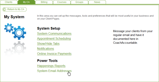 Lots of goodies here.  For now, System Email Addresses is what we're concerned with.