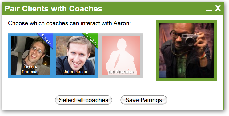 Charlie and John are coaching Aaron (Charlie's the primary), and Ted has no access at all.