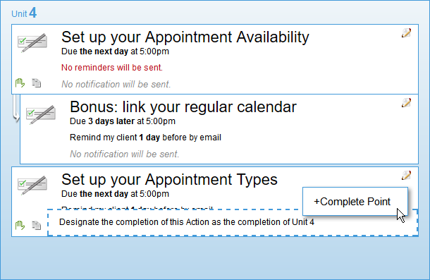 "Marking ""Set up your Appointment Types"" complete has this course move on, even if the participant hasn't completed the bonus Action item."