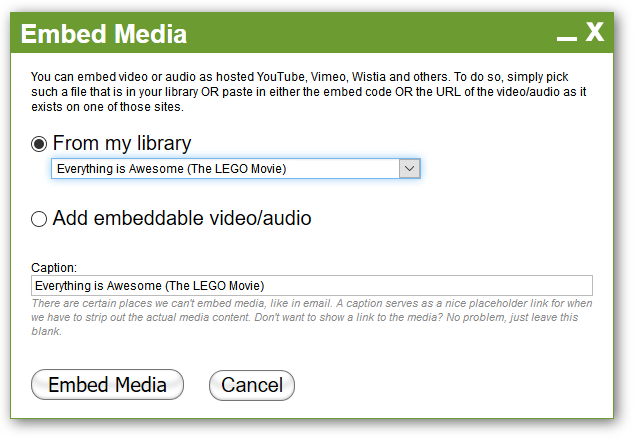Choose from your library (if you got any embeds there) or specify a new one.