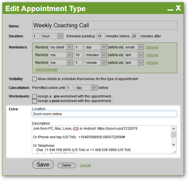 In this example we have web and dial-in access information for a web-based meeting.