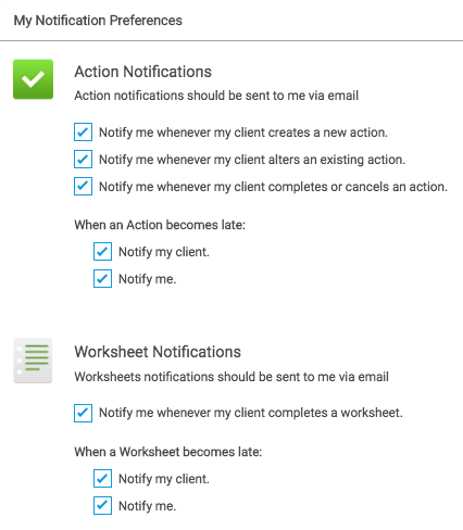 CoachAccountable - notification settings for coaching software