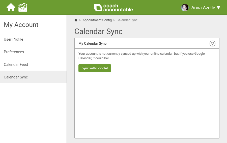 CoachAccountable online calendar sync with coaching management dashboard