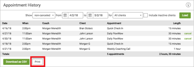 Print Appointments from CoachAccountable online coaching platform
