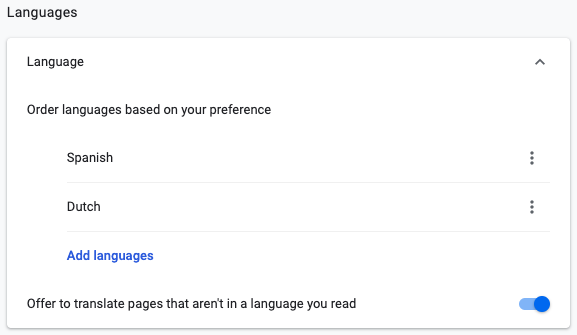 Google Chrome Language Setting