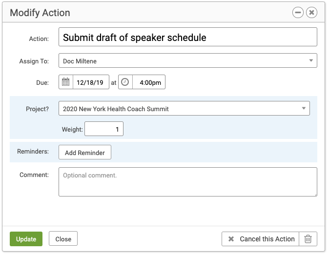 Modify a Group Member's assigned Action in a Project