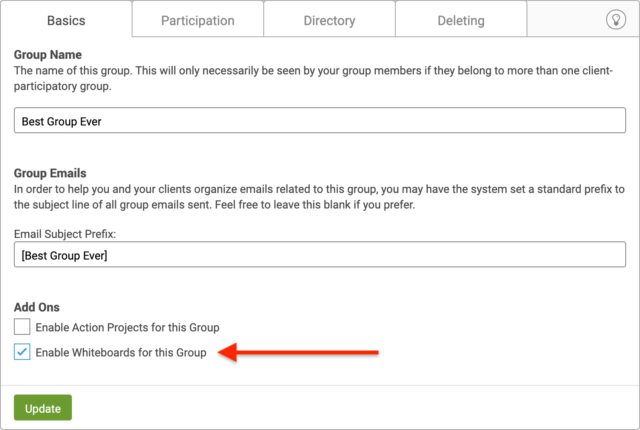 Enable Group Whiteboards in CoachAccountable