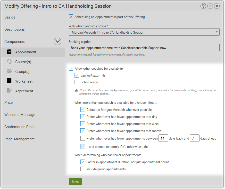 Configure Multiple Coaches for an Offering Appointment